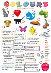 English Worksheet: COLOURS (KEY included)