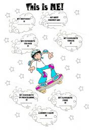 English Worksheets: PORTFOLIO :THIS IS ME! (Personal Info) (Boy�s version)