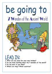 English Worksheet: be going to 7 wonders of the world PART 1