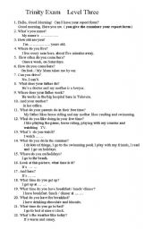 English Worksheet: questions that may be asked in level three of the trinity college oral exam