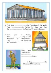 English Worksheet: be going to 7 wonders of the world PART 2