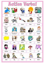 English Worksheets: Action Verbs1