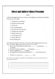 Home > pronouns worksheets > Direct and Indirect Object Prounouns ...