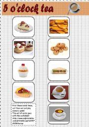 English Worksheet: 5 o�clock tea memory game