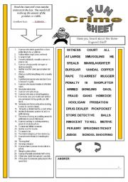 English Worksheet: FunSheet Theme: Crime