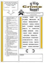 English Worksheets: FunSheet Theme: Crime