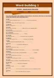 English worksheets: WORD-BUILDING 1