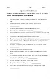 English Worksheet: Adverb and Adjective Clauses