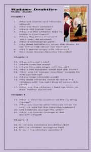 English Worksheets: Reader - Madame Doubtfire Study guide