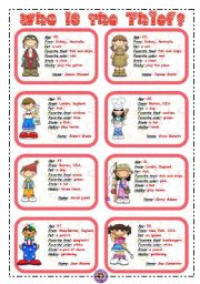 English Worksheets: WHO IS THE THIEF? 1/3 *** 16 flashcards ***