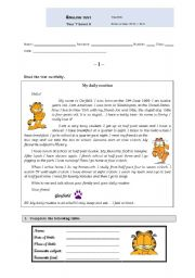 Garfield´s Daily Routine