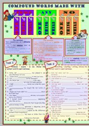 English Worksheets: Compound words made with some, any and no * grammar * 5 tasks * 2 pages * with key *** fully editable***