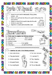 English Worksheets: Parts Of Speech ( Part 1 )