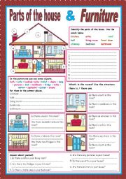 English Worksheet: Parts of the house and furniture