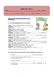 English Worksheet: Environment: Listening test and gap-filling