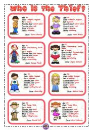 English Worksheets: WHO IS THE THIEF? 2/3 *** 16 flashcards ***
