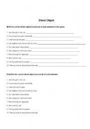 English worksheet: Direct Object