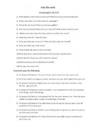 English Worksheet: movie INTO THE WILD detailed study part 2