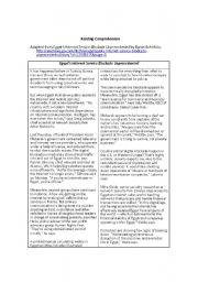 English Worksheet: Reading Comprehension based on an article about the recent Internet blockage in Egypt