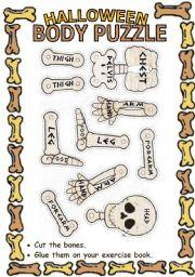 English Worksheets: Halloween skeleton puzzle
