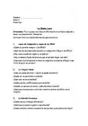 English worksheets: La Misma Luna