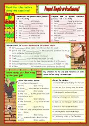 English Worksheet: Present Simple or Continuous? � exercises � 5 tasks � 2 pages � keys included � fully editable