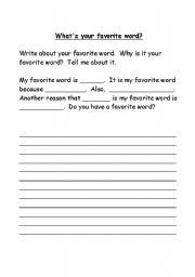 English Worksheets: My Favorite Word