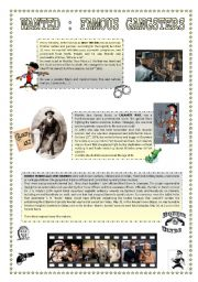 English Worksheets: WANTED : famous gangsters ( 3 pages )