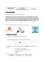 English Worksheet: lesson n�13:Songf Of Freedom