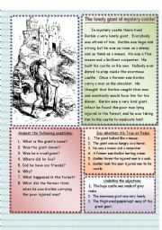English Worksheet: The lonely giant of mystery castle
