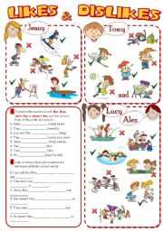 English Worksheets: LIKES & DISLIKES *2 pages, 8 tasks*