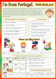 English Worksheet: I�M FROM PORTUGAL. What about you?