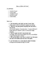English Worksheets: Balloon yeast experiment