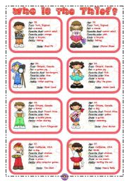 English Worksheets: WHO IS THE THIEF? 3/3 *** 8 flashcards ***