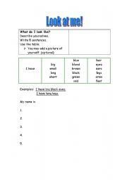 English Worksheets: LOOK AT ME