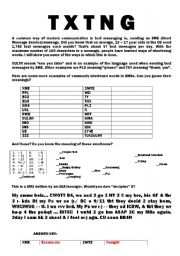 English Worksheets: TEXT MESSAGES