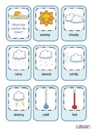 English Worksheet: Weather flashcards
