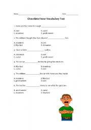 English worksheets: Chocolate Fever Quiz