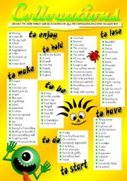 English Worksheets: VERB COLLOCATIONS (II)