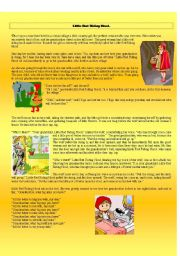 English Worksheet: Little Red Riding Hood - listening, reading and writing activity
