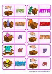 Prepositions – Dominoes • 28 color + 28 B&W dominoes • 7 pages • instructions included • fully editable