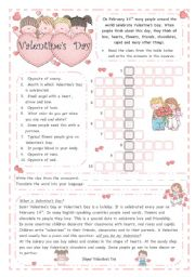 VALENTINE´S DAY *** 2 pages*** - ESL worksheet by blizzard1
