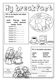 English Worksheet: My Breakfast