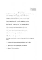 Worksheets Appositive Worksheets english worksheets appositives worksheet appositive worksheet