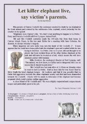 English Worksheets: Killer Elephant READING + comprehension questions + KEY