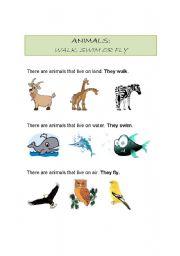 English Worksheets: Animals that walk, swim or fly.