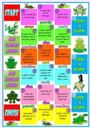 English Worksheet: The Frog Boardgame � Adverbs of Frequency � Directions and tokens included � 2 pages � fully editable