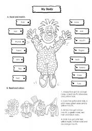 English Worksheets: Body and Colours