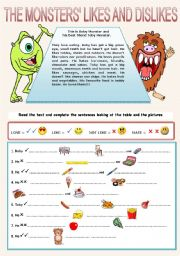 English Worksheet: THE MONSTERS LIKES AND DISLIKES (full editable!)