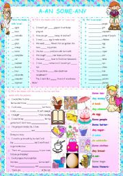 English Worksheet: A-AN SOME-ANY